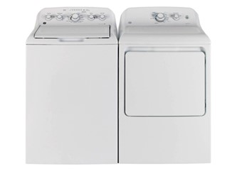 GE TOP LOAD WASHER & FRONT LOAD DRYER - GTW330BMMWW, GTD40EBMKWW