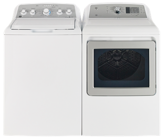 GE TOP LOAD WASHER & FRONT LOAD DRYER - GTW485BMMWS, GTD65EBMKWS