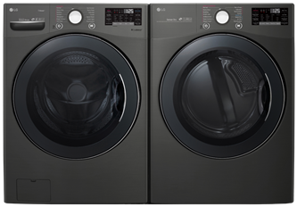 BLACK STAINLESS STEEL FRONT LOAD WASHER AND DRYER