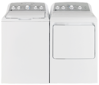 GE TOP LOAD WASHER & FRONT LOAD DRYER - GTW485BMMWS, GTD45EBKWS