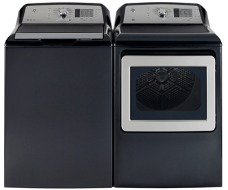 GE DIAMOND GREY TOP LOAD WASHER/ FRONT LOAD DRYER PAIR ( APPROX 5 CU FT/ 7 CU FT)