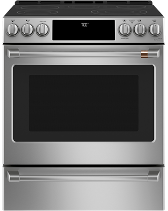 """Café™30"""" Slide-In Front Control Radiant and Convection Range Stainless Steel"""
