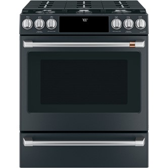 """Café™ 30"""" Slide-In Front Control Gas Oven with Convection Range with Warming Drawer"""