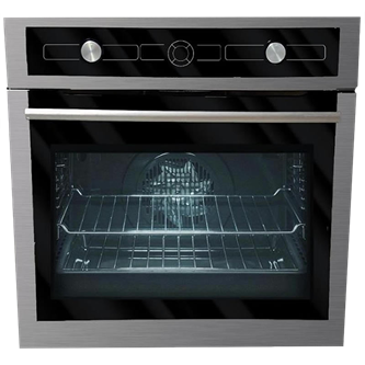 "24"" built-in stainless steel and black glass multi-function oven"