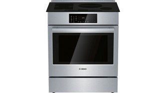 """The 30"""" Benchmark Induction Slide-in Range Combines FlexInduction Technology with the Innovative Oven featuring a QuietClose Door."""