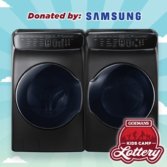 LOTTERY - SAMSUNG Full Size Front Load Dual Washer and Dual Dryer System. PRIZE VALUE $4698