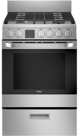 Haier 24 inch 2.9 cu. ft. Free-Standing Gas Convection Range in Stainless Steel