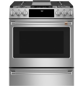 Café 30-Inch Smart Slide-In, Front Control, Gas Range with Convection Oven